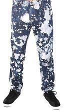 Versace Jeans Blue Bleached Denim White Paint Orange Speckle XXX Pants NWT