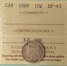 1888 Canada Silver 10 cents - Graded ICCS EF-44 - serial #XJL 588