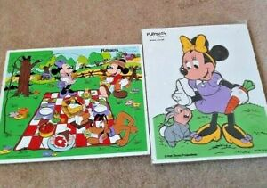 Two Vintage  Disney Wooden Puzzles   Mickey and Minnie Mouse
