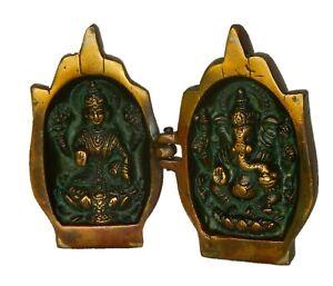 Ganesha Laxmi with Folding Hands Figure Antique Style Handmade Brass Idol Statue