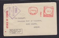 AUSTRALIA 1942 CENSORED METER COVER SYDNEY TO ROCK ISLAND QUEBEC