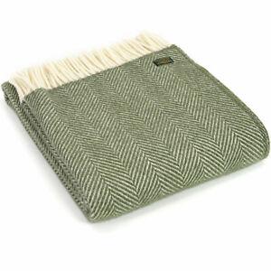 TWEEDMILL TEXTILES 100% Wool Sofa Bed Blanket FISHBONE OLIVE GREEN CREAM THROW