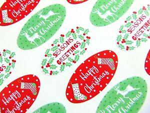 Joyeux Noël Sceau Ovale Étiquettes, Autocollants Pour Cartes & Craft - 9 Modèles