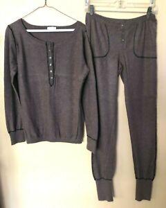 Eric Bompard 100% Brown Cashmere Sweater Pant Suit Size L