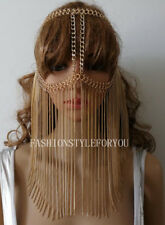 Fashion HE65 Women Gold Chains Layers Hair Chains Mask Face Head Chains Jewelry