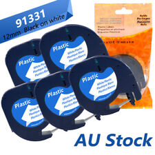 91331 Compatible Dymo LetraTag Refill Plastic Label Tape Black on White 12mm 1/2