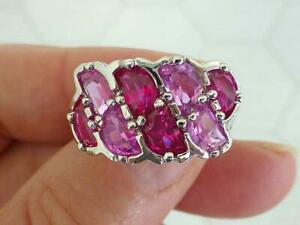 ROSS SIMONS 8 Stone Red Ruby Pink Topaz Sterling Silver 925 Band Ring Size 7
