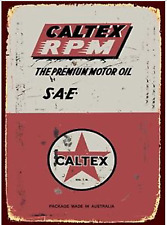 Caltex Oil Metal Tin Sign Plaque Advertising Many Other Brands Listed