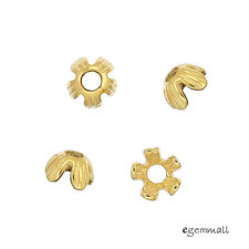 20x Gold Plated Sterling Silver Daisy Flower Bead Caps 6mm #99547