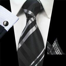 Black Silver Men Tie Set Pocket Square Cufflinks Wedding Party Men Necktie Set