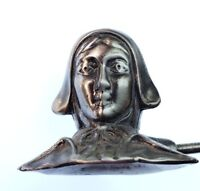 Beautiful Vintage Silver Tone Victorian Lady Head Candle Snuffer
