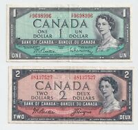 1954 Bank of Canada Notes $1 and $2 NICE
