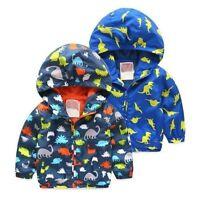 Toddler Baby Boys outerwear cartoon Hooded coat Kid Boys Dinosaur Jacket Clothes
