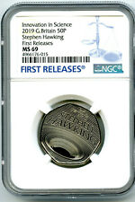 2019 GREAT BRITAIN 50P NGC MS69 STEPHEN HAWKING FIRST RELEASES EXTREMELY RARE