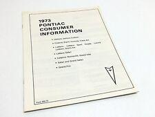 1973 Pontiac Ventura Firebird LeMans Full Line Consumer Information Brochure