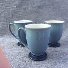 SET OF 3 MUGS Denby BLUE JETTY Pedestal Footed Light Dark Blue Foot EXCELLENT