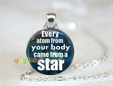Atom Came from a star glass dome Tibet silver Chain Pendant Necklace wholesale