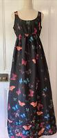 Dorothy Perkins size 10 Black Multicoloured Butterfly print Maxi Dress sleeveles