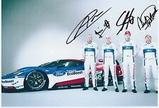 Priaulx, Franchitti, Mucke, Pla Hand Signed Ford GT 12x8 Photo Le Mans 2.