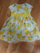 """NWT -Gymboree """"Egg Hunt"""" yellow, white & green short sleeved lemons dress- 6-12m"""