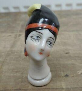 Antique/Art Deco German Porcelain Half Doll Head Pin Cushion Flapper Girl #5466