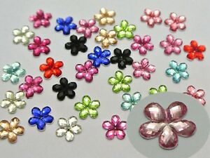 500 Mixed Color Flatback Acrylic Faceted Flower Rhinestone Gems 8mm No Hole