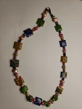 Venetian Murano Art Glass Bead Necklace 925 Sterling Clasp. 1B2