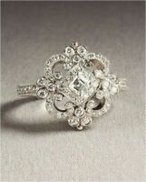 ANTIQUE VINTAGE ART DECO WEDDING ENGAGEMENT RING 14K WHITE GOLD OVER 925 SILVER