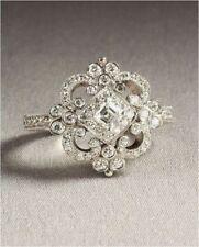 ANTIQUE VINTAGE ART DECO WEDDING ENGAGEMENT RING 14K WHITE GOLD OVER 925 SILVER