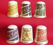 Set of 6 Johnnie Walker Scotch Whisky (Gold Gilded)  Collectors Thimbles