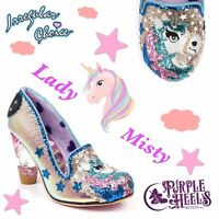 Irregular Choice Lady Misty Glitter Sequin Unicorn Perspex Heel UK4-8.5