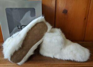 "Sz 7 UGG Amary White ""fur"" Cozy Fluffy womens Slippers NIB EU 38"