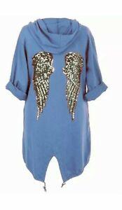 New Ladies Sequin Angel Wings Back Oversized Hoodie Women's Jacket Coat Cardigan