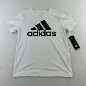 NEW Adidas Shirt Youth Small White Spell Out Logo Athletic Kids Boys