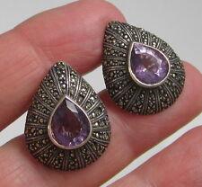 Estate Vintage Large Sterling Silver Amethyst Hematite Teardrop Pierced Earrings