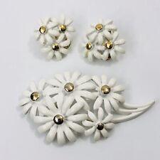 Vintage Enamel Flower Brooch Earrings Demi Parure Signed Monet White Gold Tone