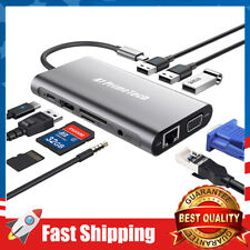 USB C Hub Adapter 10 in 1 with Ethernet,HDMI,VGA,USB 3.0 Ports,2.0 Charging Port