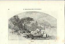 Stampa antica Veduta di BRANDO Barche Corsica 1892 Ancien Gravure Old Print