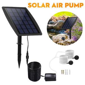 Pond Water Oxygen Pump Oxygenator Solar Powered 2 Air Stone Aerator Fish Tank