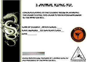 3 Animal Kung Fu 1st Dan Black Sash Home study Course & Lifetime MFMA Membership