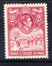 TURKS & CAICOS IS GVI 1938 SG203 2/- deep rose-carmine lightly m/m. Cat £48