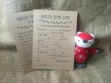 Nursery Rhyme Baby Shower Game, Activity x10 cards including answer sheet unisex