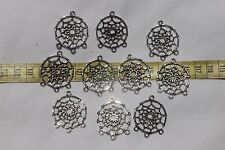 34x28x2mm Tibetan Style Dream Catcher Charms Pendants Ant. Silver/10 pieces