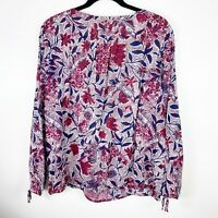 Lucky Brand Womens size Large Floral Peasant Top Long Sleeve Purple Button Boho