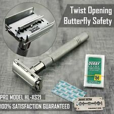 Twist Open Butterfly Safety Razor & 5 Double Edge Blades Classic Shaving Vintage