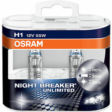 H1 OSRAM NIGHT BREAKER UNLIMITED BULBS 12v 55w 110% EXTRA Light New