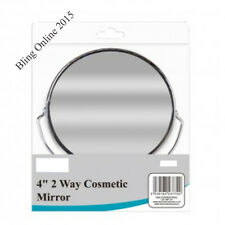 "SMALL 4"" TWO WAY MAKEUP MIRROR EYE LASHES EYEBROWS MAGNIFYING DOUBLE SIDED STAND"