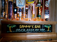 COLOR LED'S & REMOTE CTRL 18 BEER TAP HANDLE DISPLAY  Personalized / PALM TREES