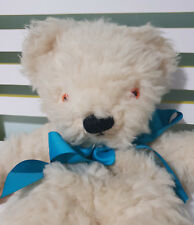 MERRY THOUGHT TEDDY BEAR WHITE BLUE BOW ORANGE EYES- IN NEED OF TLC!