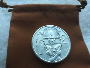 2 oz Osiris Silver Round Egyptian Gods Series #5, New, High Relief Capsule,Pouch